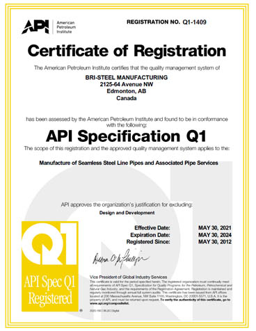 Certificates | Bri-Steel Manufacturing Inc | Edmonton, AB